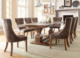 Homelegance Marie Louise Double Pedestal Dining Table in Rustic Brown