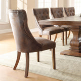 Homelegance Marie Louise Upholstered Side Chair in Rustic Brown