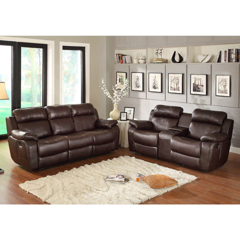Homelegance Marille 2 Piece Reclining Living Room Set in Brown Leather