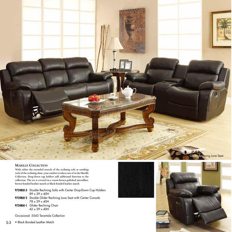 Homelegance Marille 3 Piece Reclining Living Room Set in Black Leather