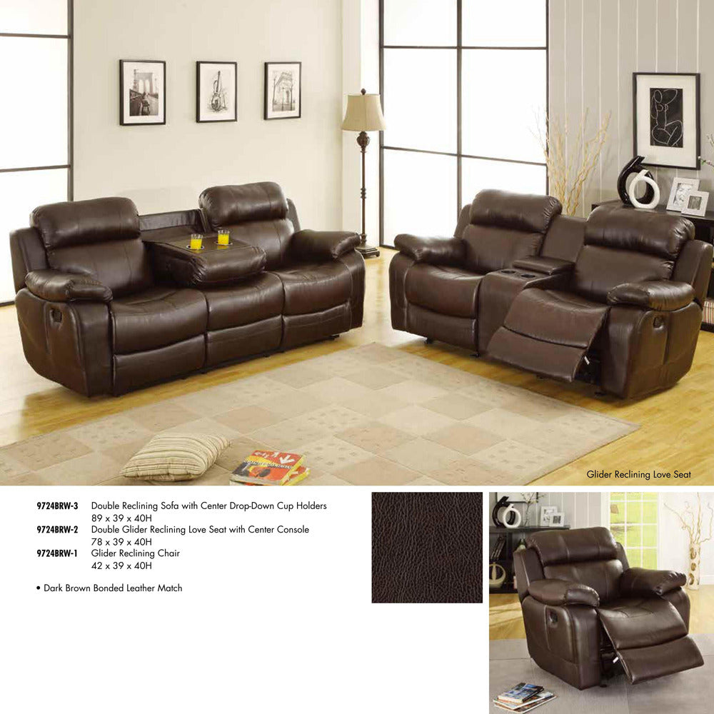 Cool Homelegance Marille 3 Piece Reclining Living Room Set In Brown Leather Pabps2019 Chair Design Images Pabps2019Com
