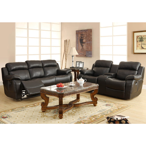 Homelegance Marille 4 Piece Reclining Living Room Set in Black Leather