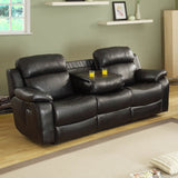 Homelegance Marille 5 Piece Reclining Living Room Set in Black Leather