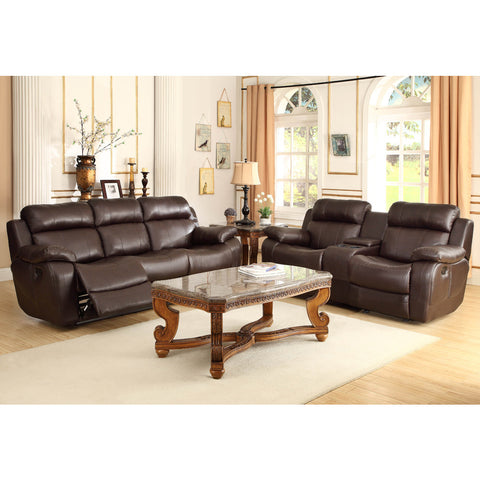 Homelegance Marille 5 Piece Reclining Living Room Set in Brown Leather
