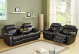 Homelegance Marille 2 Piece Reclining Living Room Set in Black Leather