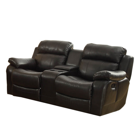 Homelegance Marille Double Glider Reclining Loveseat w/ Center Console in Black Leather