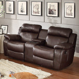 Homelegance Marille Double Glider Reclining Loveseat w/ Center Console in Brown Leather