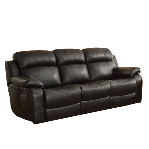 Homelegance Marille Double Reclining Sofa w/ Center Drop-Down Cup Holders in Black Leather