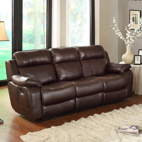 Homelegance Marille Double Reclining Sofa w/ Center Drop-Down Cup Holders in Brown Leather