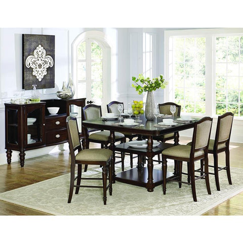 Homelegance Marston 8 Piece Counter Height Table Set in Espresso