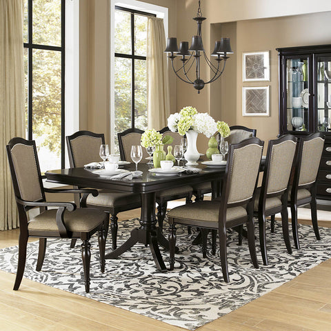 Homelegance Marston 9 Piece Double Pedestal Dining Room Set in Dark Espresso