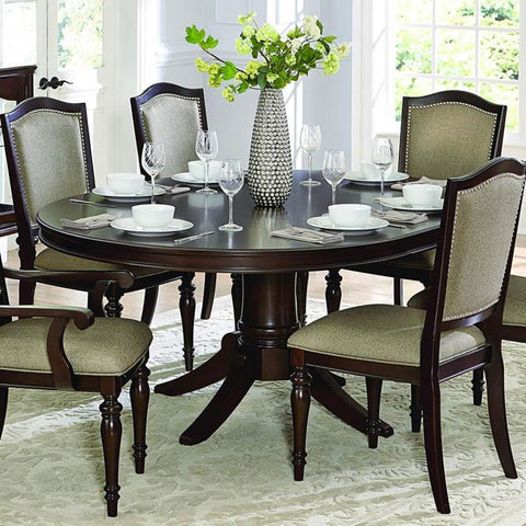 Homelegance Marston Oval Pedestal Dining Table in Espresso