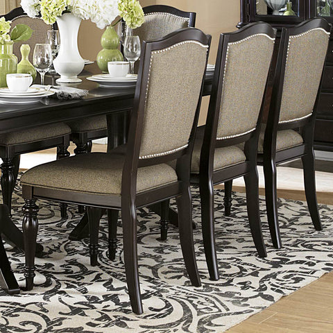 Homelegance Marston Side Chair w/ Neutral Tone Fabric Cover in Dark Espresso