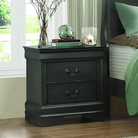 Homelegance Mayville 2 Drawer Nightstand in Stained Grey