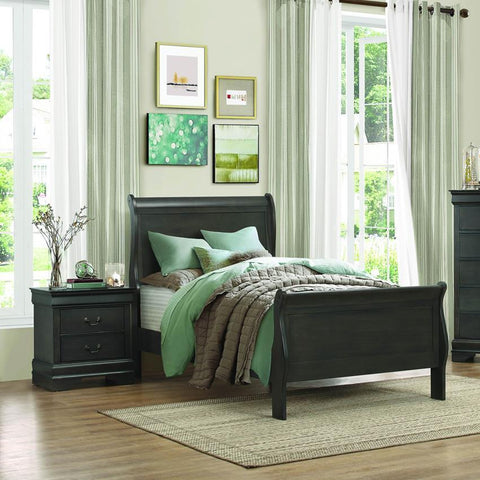 Homelegance Mayville 2 Piece Sleigh Bedroom Set in Stained Grey