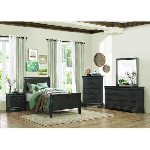 Homelegance Mayville 4 Piece Sleigh Bedroom Set in Stained Grey