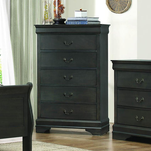 Homelegance Mayville 5 Drawer Chest in Stained Grey
