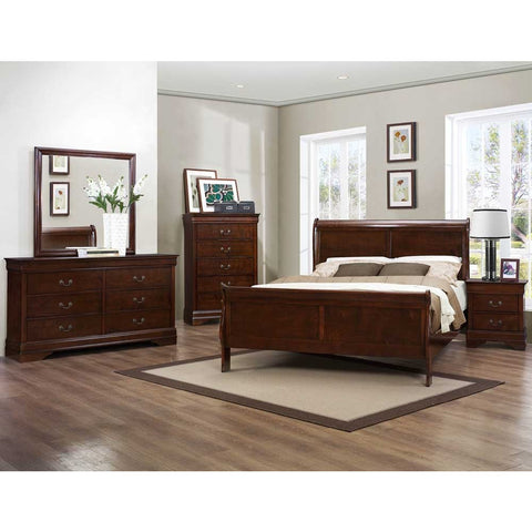 Homelegance Mayville 5 Piece Sleigh Bedroom Set in Brown Cherry