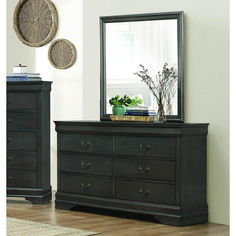 Homelegance Mayville 6 Drawer Dresser & Mirror in Stained Grey