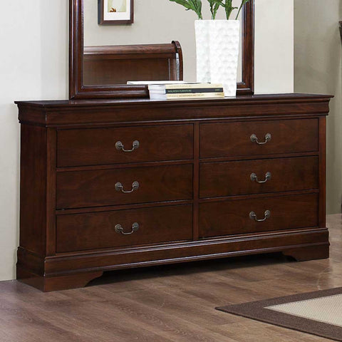 Homelegance Mayville 6 Drawer Dresser in Brown Cherry