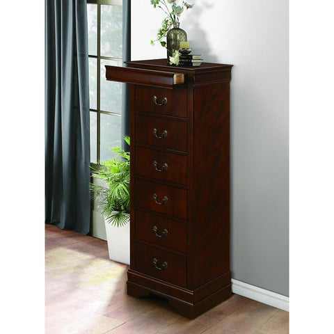 Homelegance Mayville Lingerie Chest w/Hidden Drawer in Burnished Brown Cherry