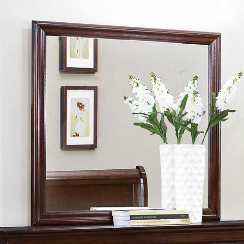 Homelegance Mayville Square Mirror in Brown Cherry