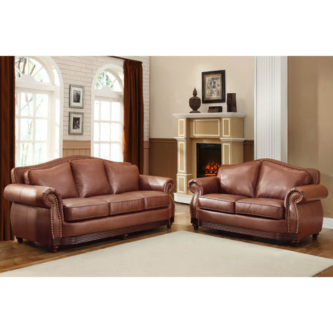 Homelegance Midwood 2 Piece Living Room Set in Dark Brown Leather