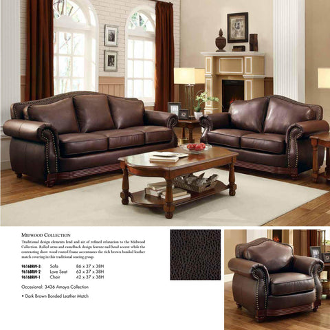 Homelegance Midwood 3 Piece Living Room Set in Dark Brown Leather