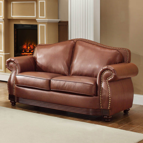 Homelegance Midwood Loveseat in Dark Brown Leather
