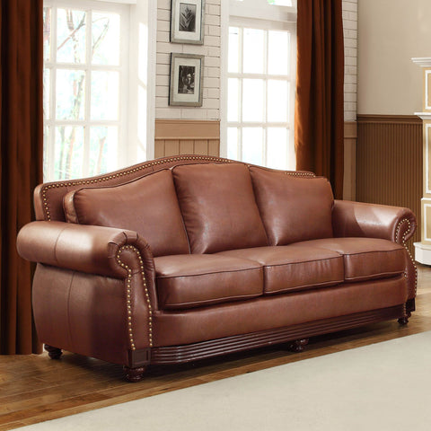 Homelegance Midwood Sofa in Dark Brown Leather