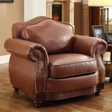 Homelegance Midwood Upholstered Chair in Dark Brown Leather