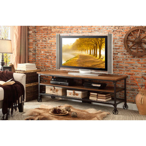 Homelegance Millwood 65 Inch TV Stand in Distressed Ash