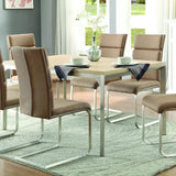 Homelegance Moriarty Faux Wood Top Dining Table in Natural & Silver Metal