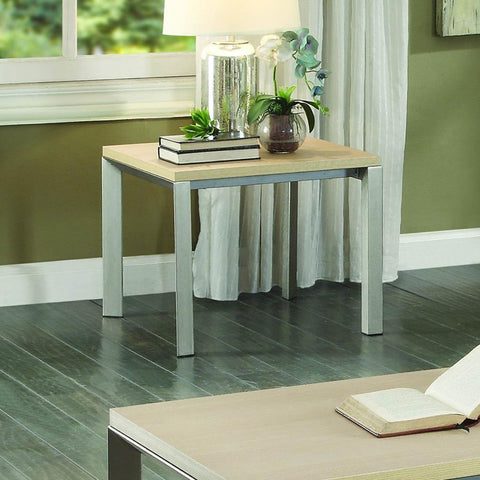 Homelegance Moriarty Faux Wood Top End Table in Natural & Silver Metal
