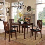 Homelegance Mosely 5 Piece Dining Room Set in Dark Brown Cherry