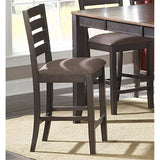 Homelegance Natick Upholstered Counter Height Chair in Espresso & Brown