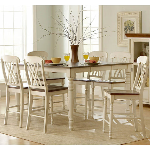 Homelegance Ohana 5 Piece Counter Height Dining Room Set in White