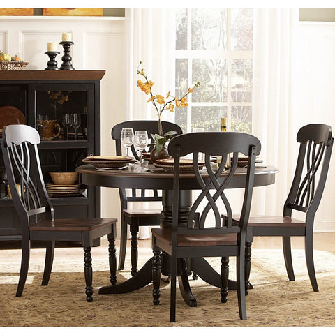 Homelegance Ohana Round Pedestal Dining Table in Black & Cherry