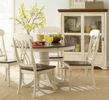 Homelegance Ohana Round Pedestal Dining Table in White & Cherry