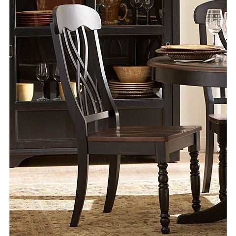 Homelegance Ohana Side Chair in Antique Black & Warm Cherry