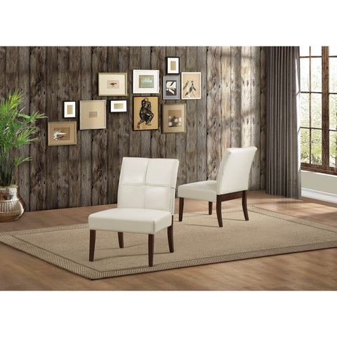 Homelegance Oriana Upholstered Accent Chair in Cream Bi-Cast Vinyl