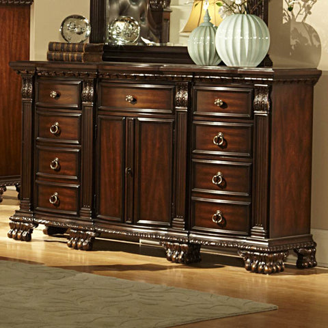 Homelegance Orleans 9 Drawer 2 Door Dresser in Rich Cherry
