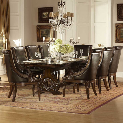 Homelegance Orleans 9 Piece Double Pedestal Dining Room Set in Rich Dark Cherry