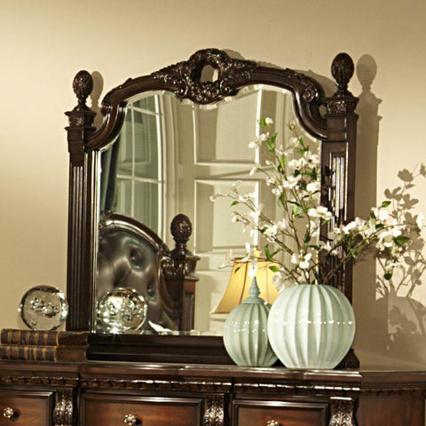Homelegance Orleans Arched Mirror in Rich Cherry