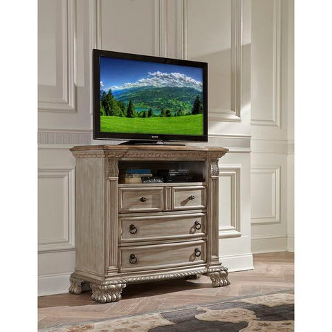 Homelegance Orleans II TV Chest With Rubber Wood Top In Antique White Washed + Driftwood Top