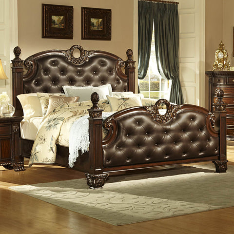 Homelegance Orleans Poster Bed w/ Dark Brown Leather in Rich Cherry