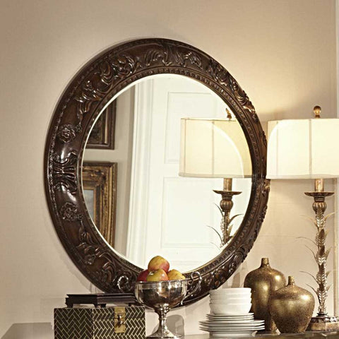 Homelegance Orleans Round Server Mirror in Rich Dark Cherry
