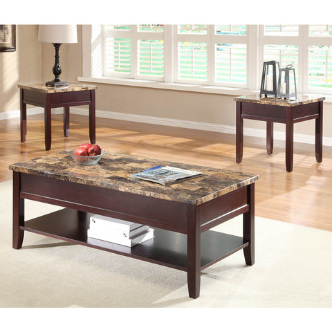 Homelegance Orton 3 Piece Faux Marble Top Coffee Table Set in Rich Cherry