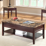 Homelegance Orton Faux Marble Top Cocktail Table in Rich Cherry