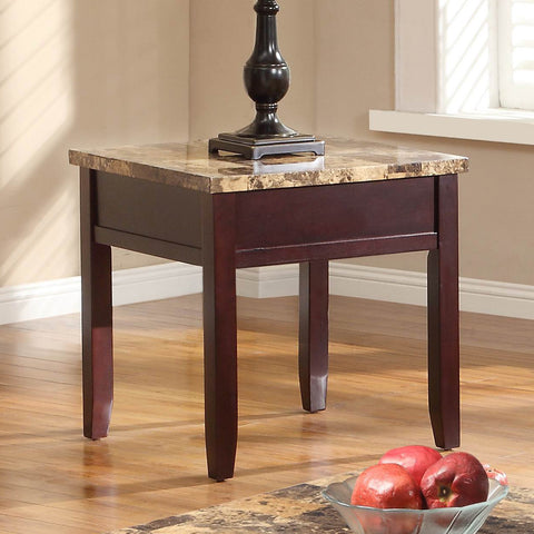 Homelegance Orton Faux Marble Top End Table in Rich Cherry